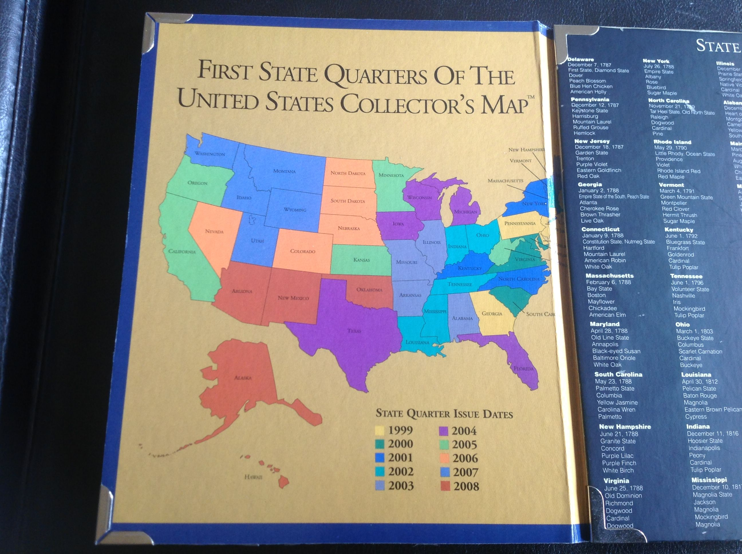 first state quarters of the united states collectors map folder 1999 2008 for sale buy now online item 124553