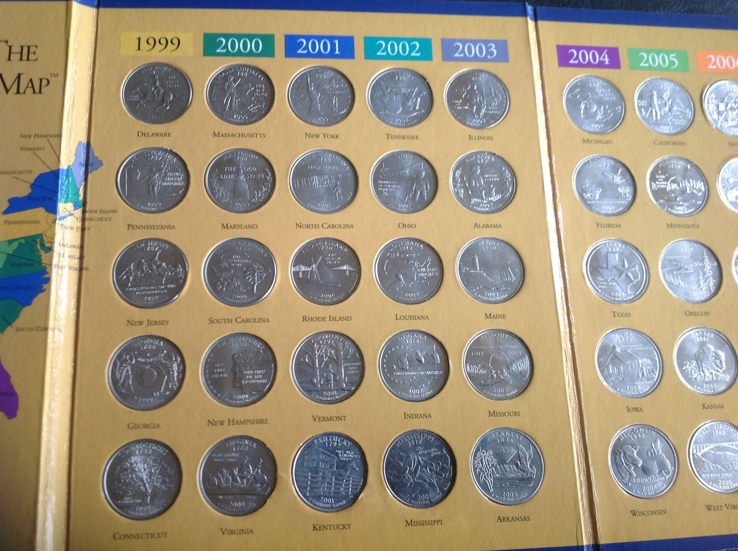 First State Quarters of the United States Collectors Map Folder 1999 ...