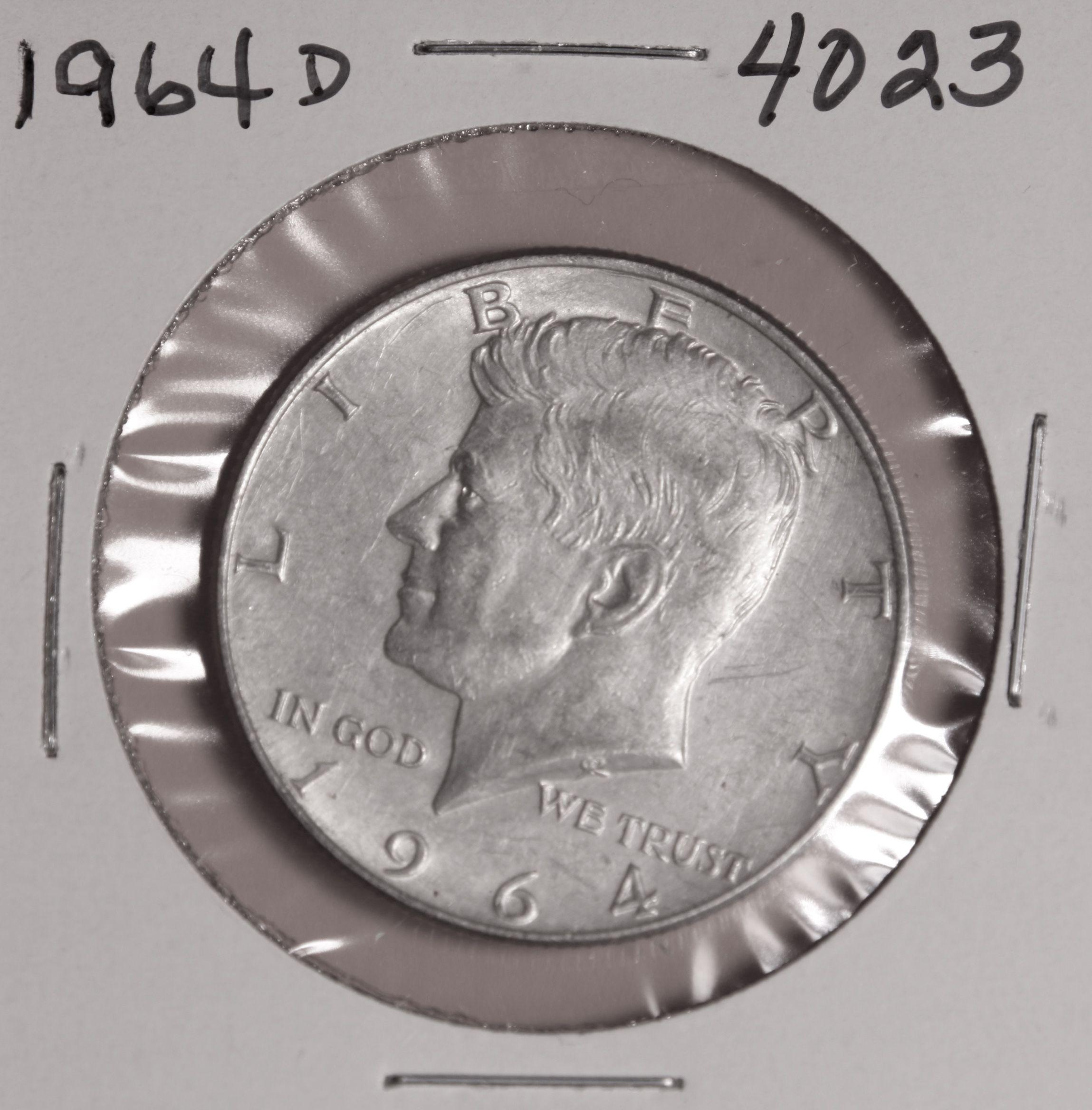 1964 D Kennedy 90 Silver Half Dollar 4023 For Sale