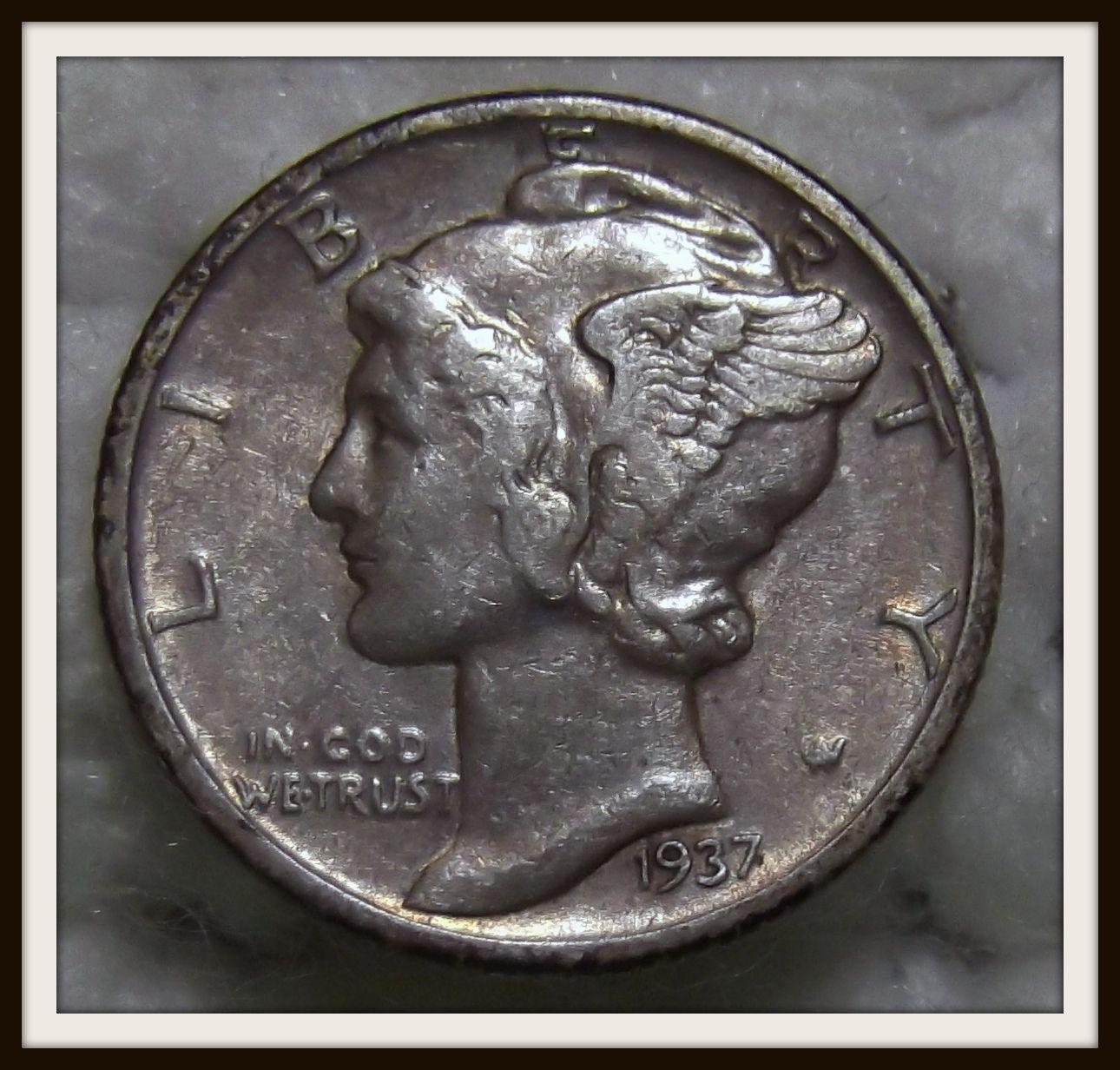 1937 P Mercury Liberty Head Silver Dime For Sale