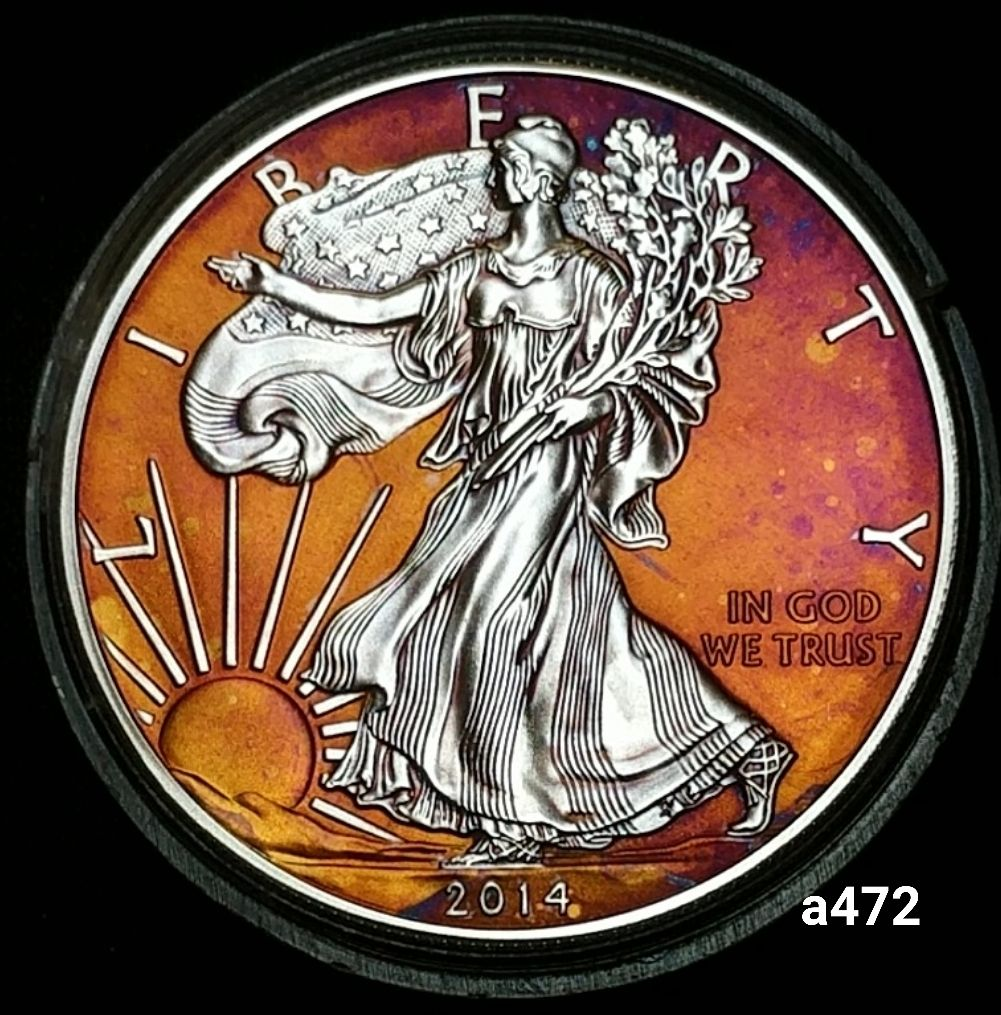 2014 Rainbow Toned Silver American Eagle 1 Troy Ounce