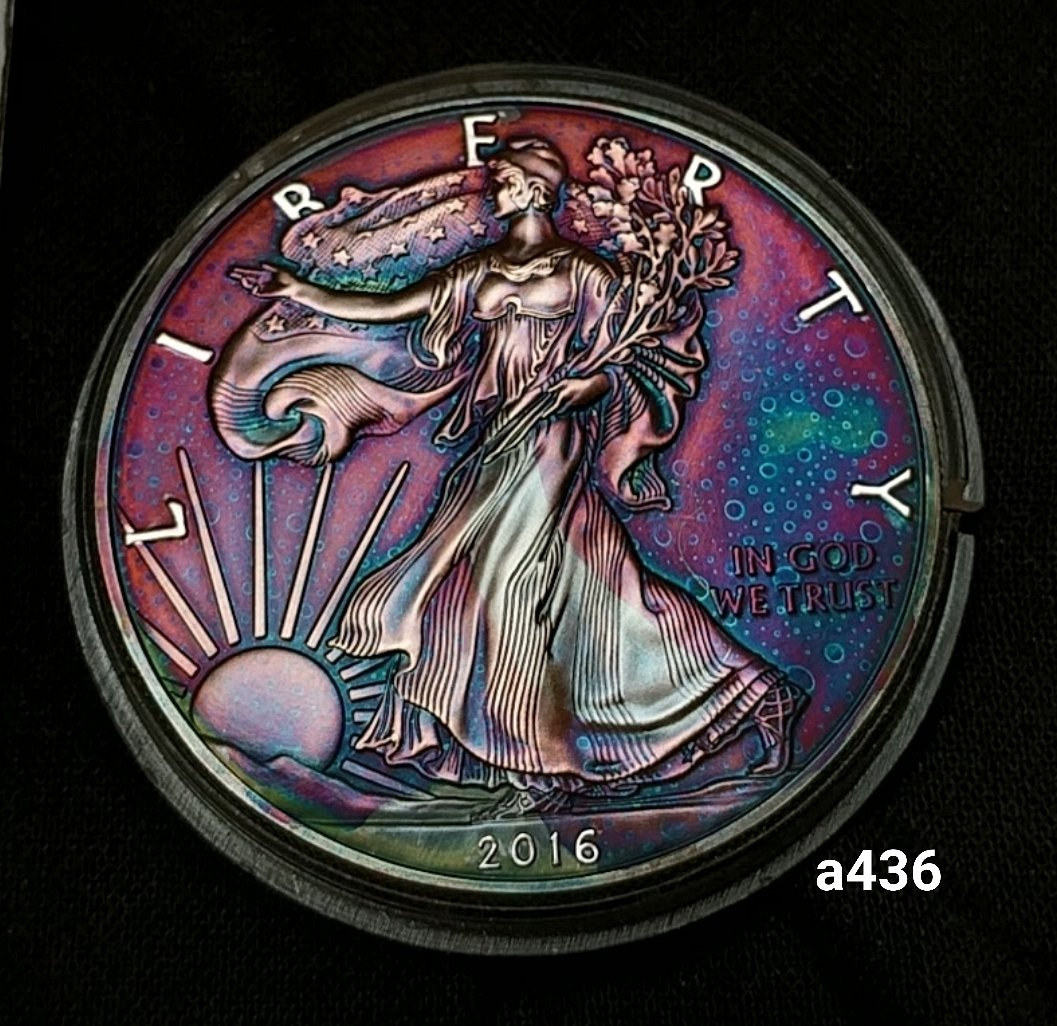 2016 Rainbow Toned Silver American Eagle 1 Troy Ounce