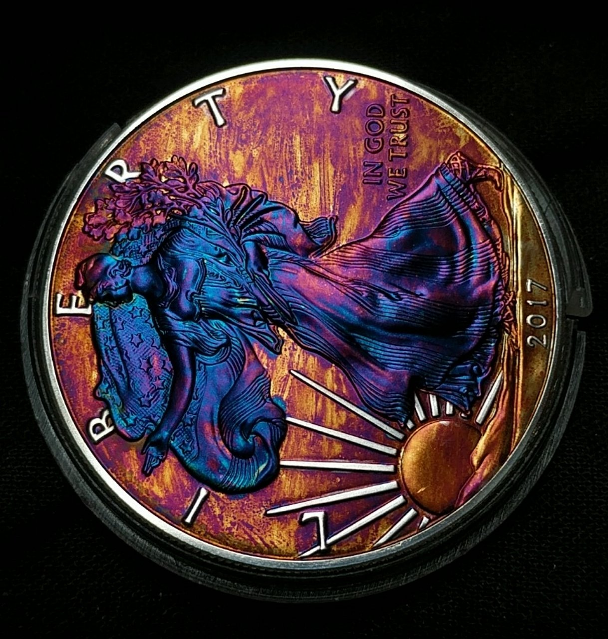 2017 Rainbow Toned Silver American Eagle 1 Troy Ounce