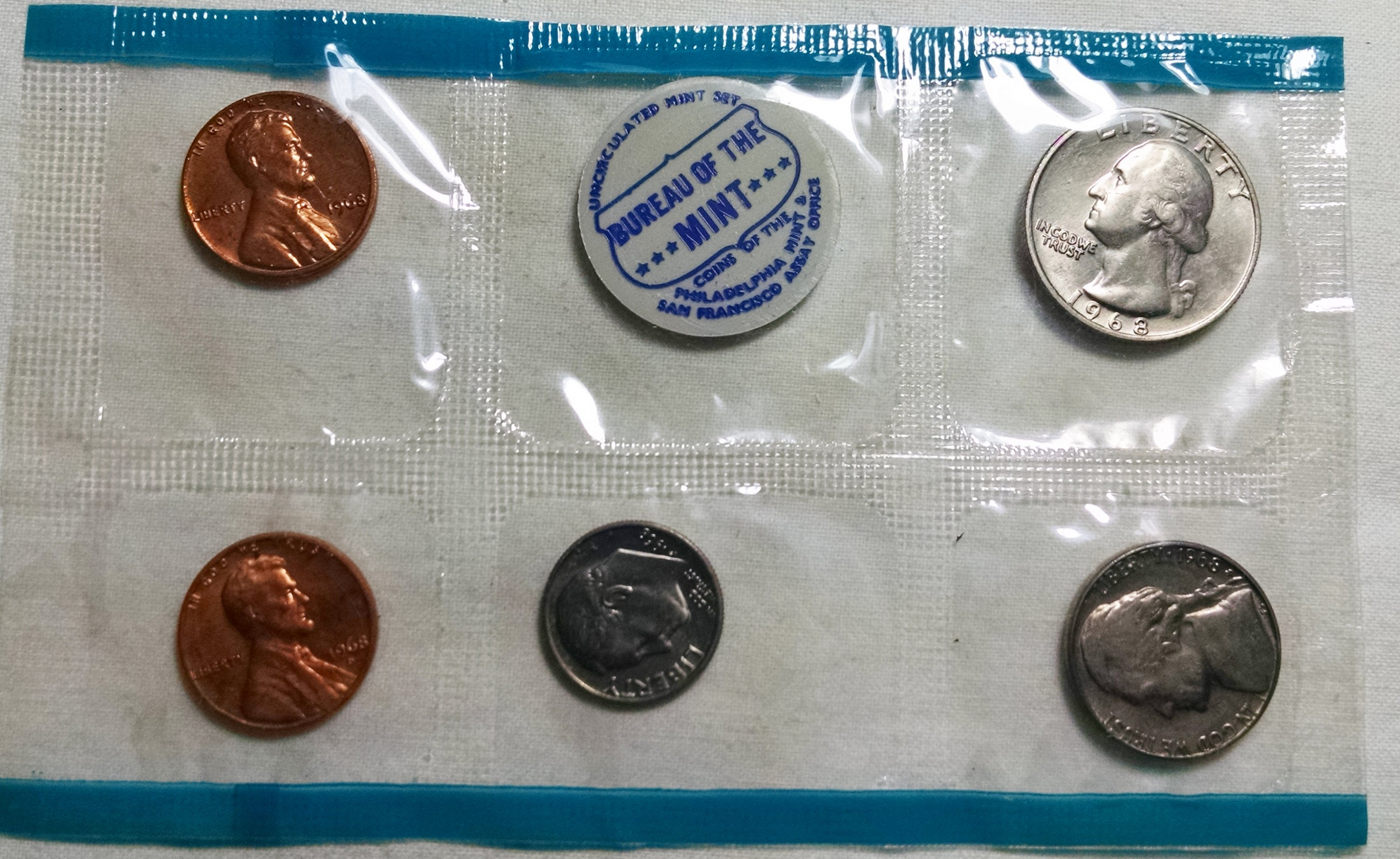 1968 P D S Uncirculated Mint sets in the original  Mint issued envelope