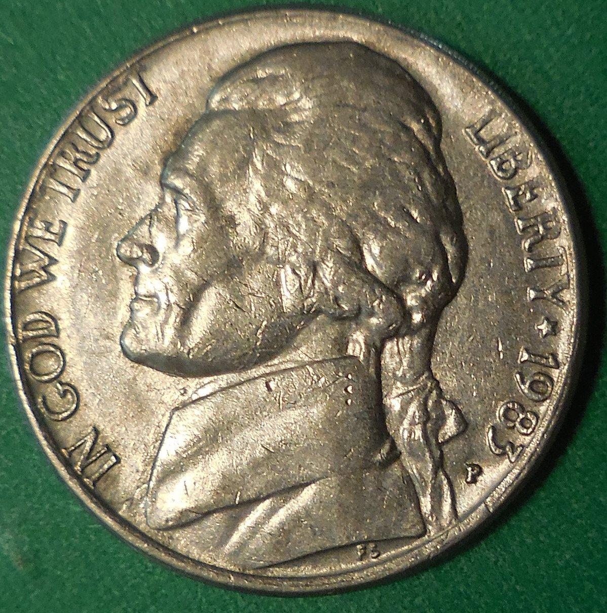 1983-P Jefferson Nickel Die Clash Error