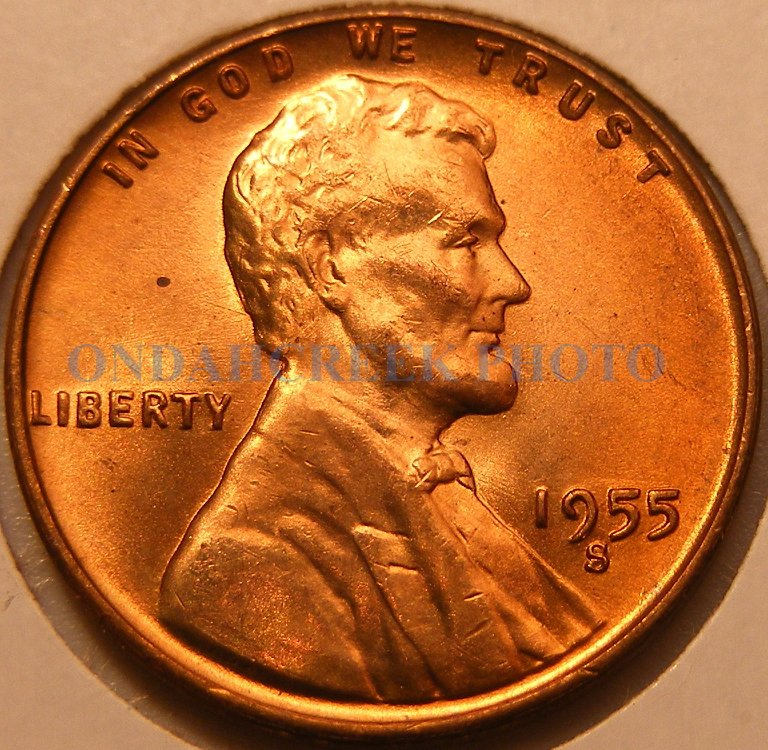 1955-S Lincoln Cent Doubled Die Obverse #1 Two Extra Eyelids CH BU+