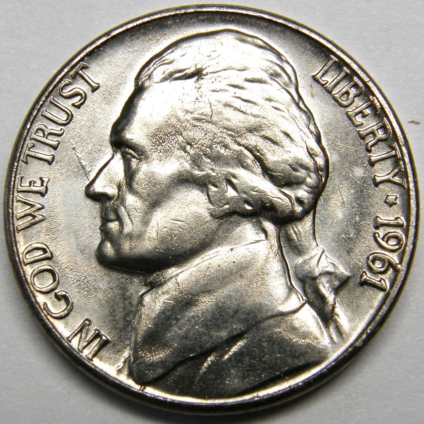 1961 D/D Jefferson Nickel #5 RPM-001 Error