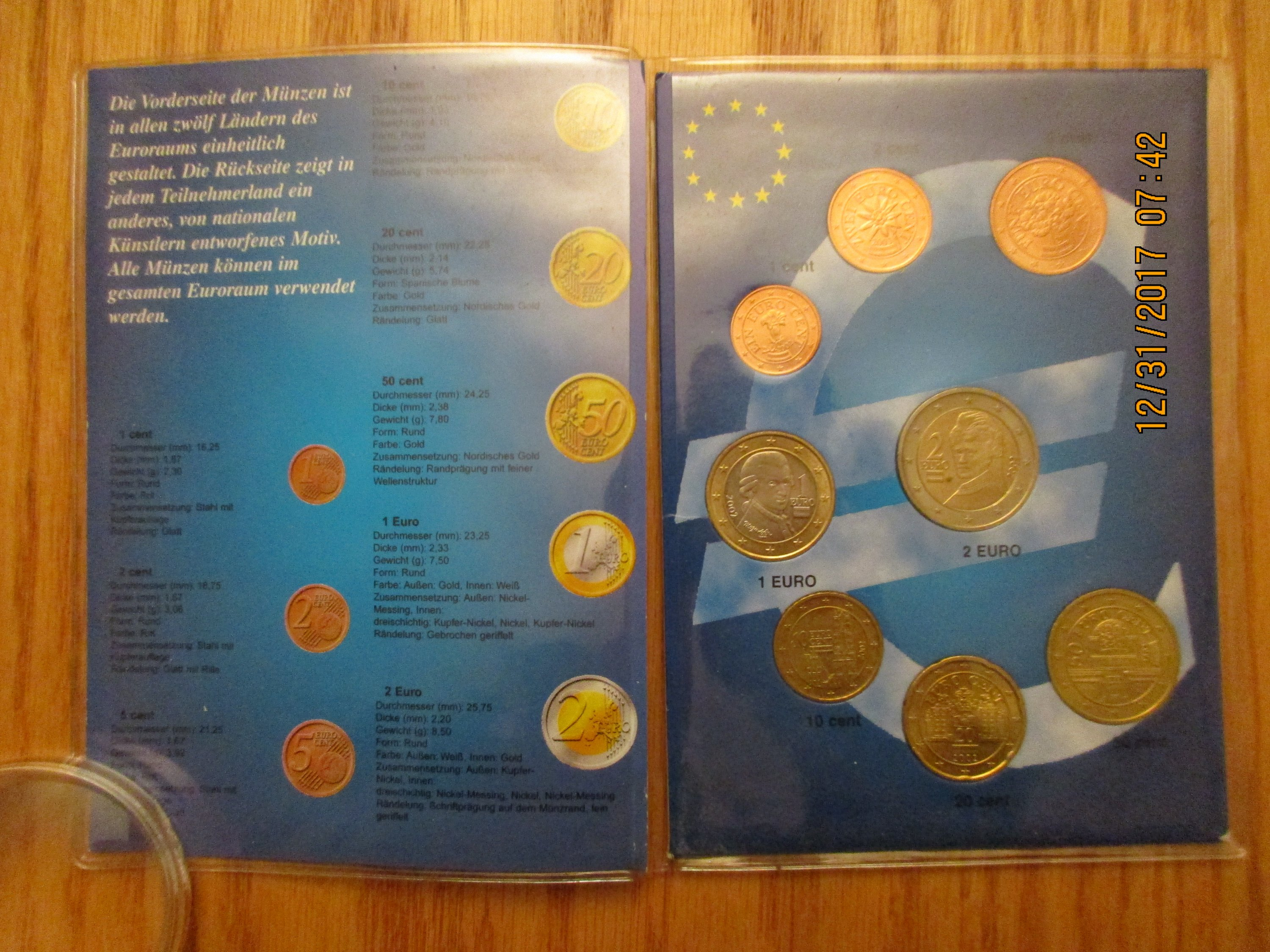 2002 2003 Austria Euro 8 Coin Brilliant Uncirculated Set 1 Cent To