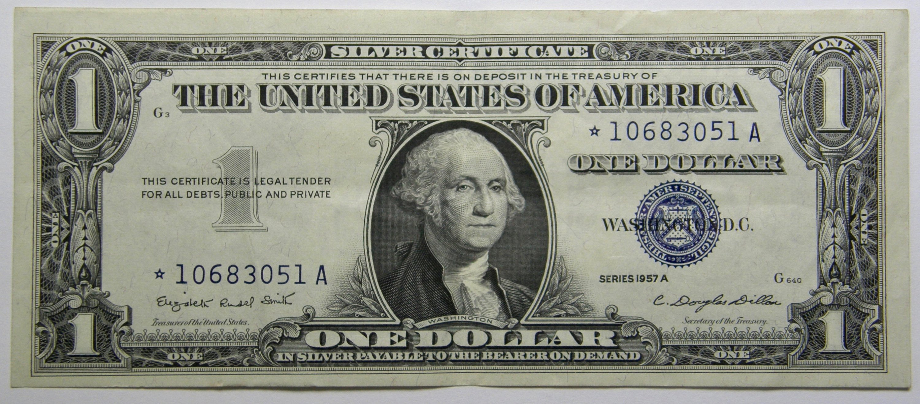 1957a Silver Certificate Federal Reserve Star Note Uncirculated