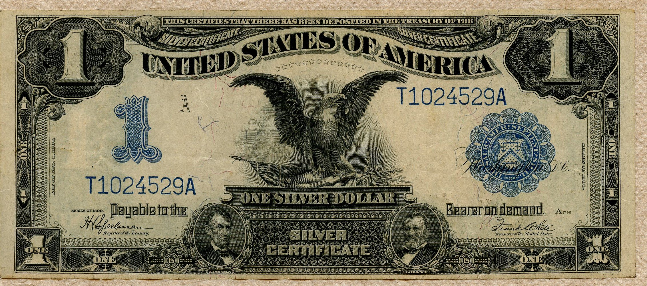 1899 Silver Certificate One Dollar Bill Large Note !!! - for sale ...