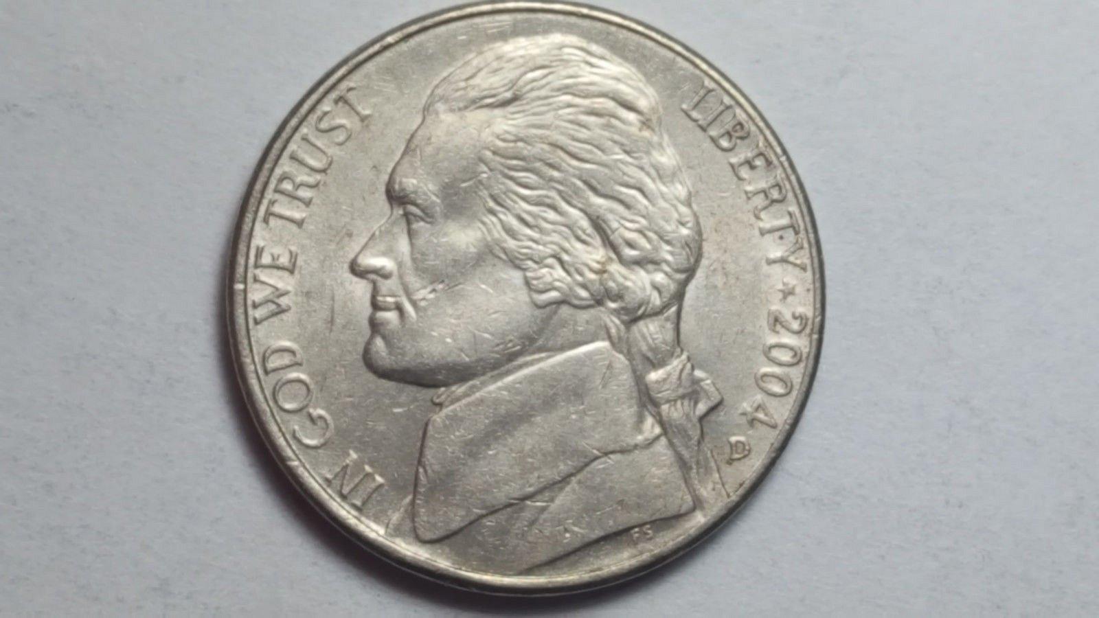 2004 D Jefferson Nickel Double Die & Die Crack Error Reverse EF