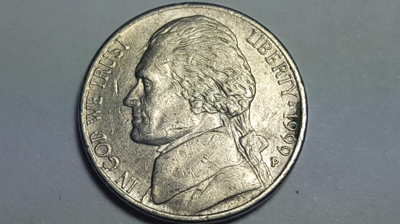 1999 P Jefferson Nickel ERROR COIN obverse ddo on the mint mark P over P