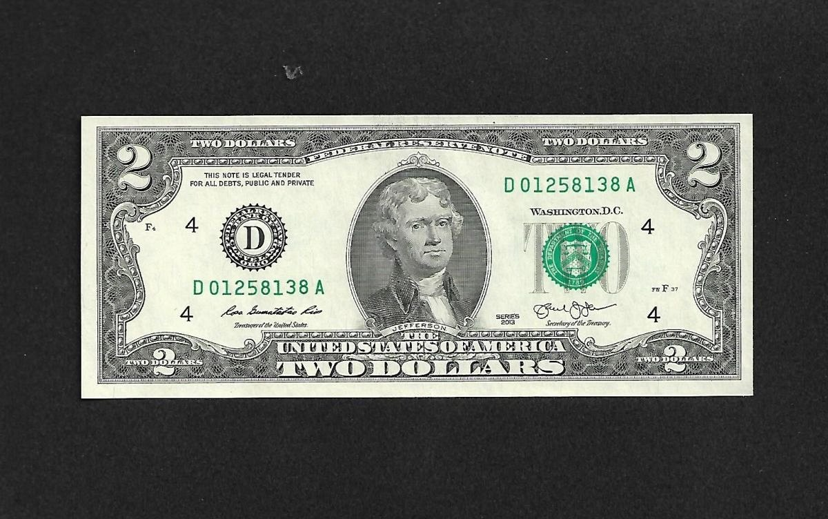 Gem Cu 2013 Two Dollar Bill Fancy Numbers Mixed Ladder 0123 Low Number For Sale Buy Now Online Item 242201