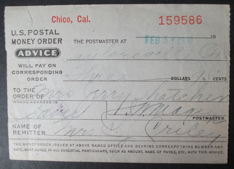 1910 Chico Ca Postal Money Order For Sale Buy Now Online Item 242528