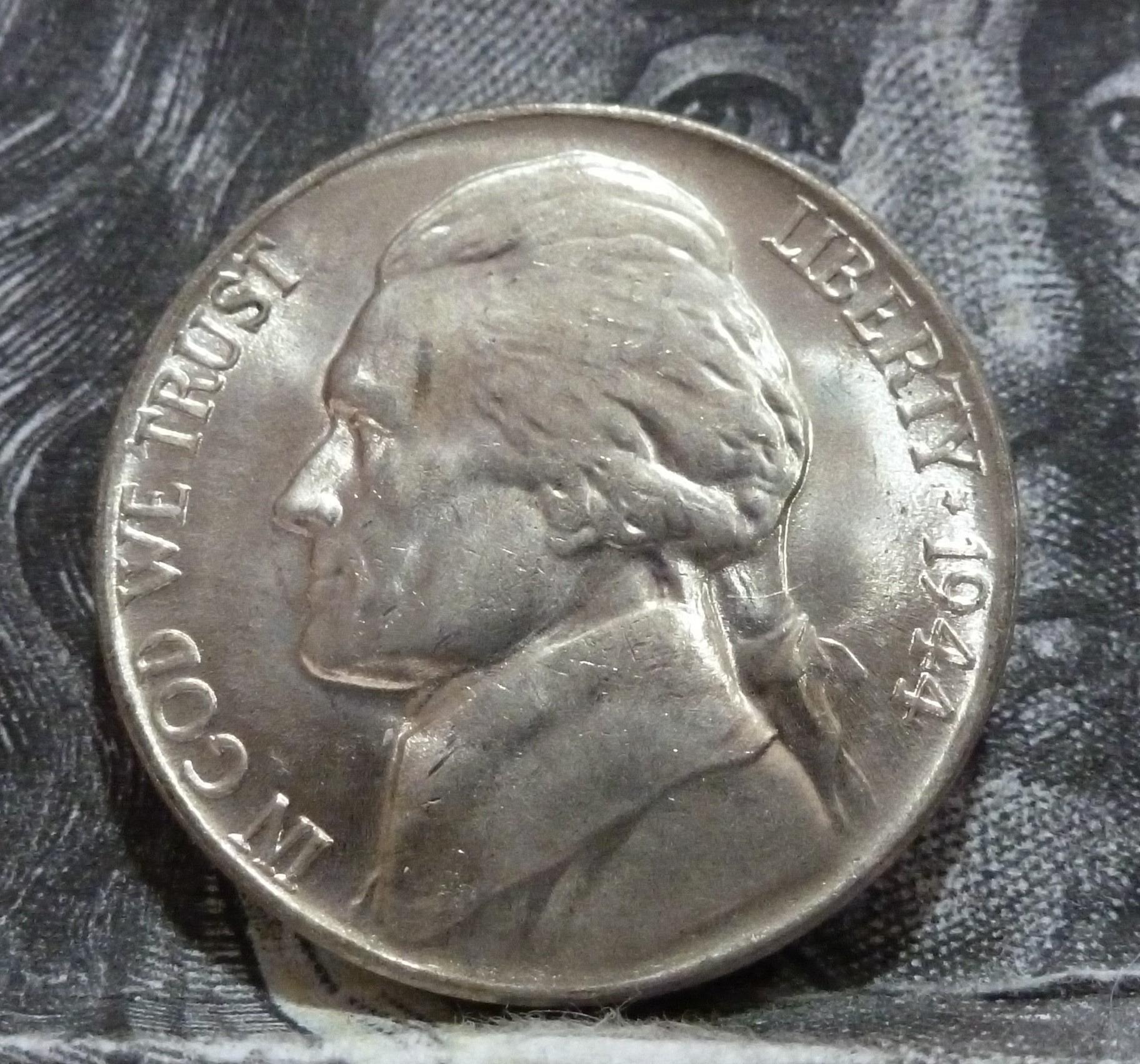 1944 P BU Silver War Jefferson Nickel Brilliant Uncirculated 6003