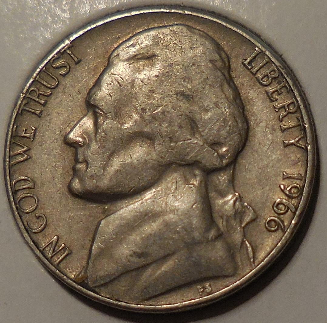 1966 Jefferson Nickel Double Error Coin - for sale, buy now online