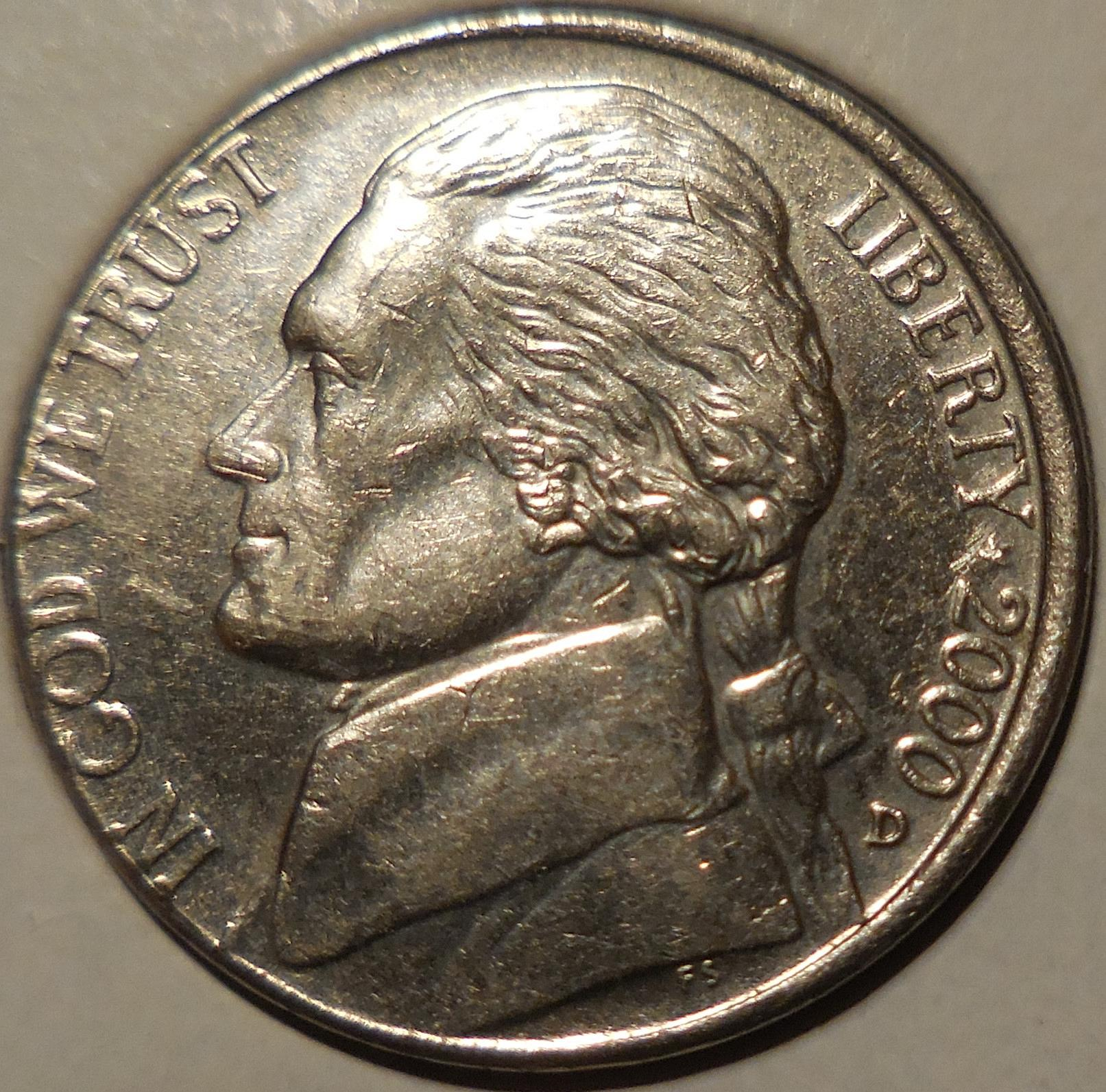 2000-D Jefferson Nickel Misaligned Die Error - for sale, buy now