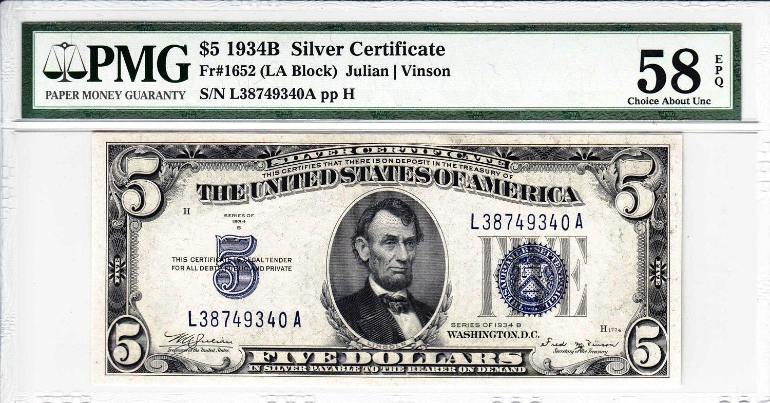 Sold 718 1934 B Series Silver Certificate Pmg Graded Au 58 For