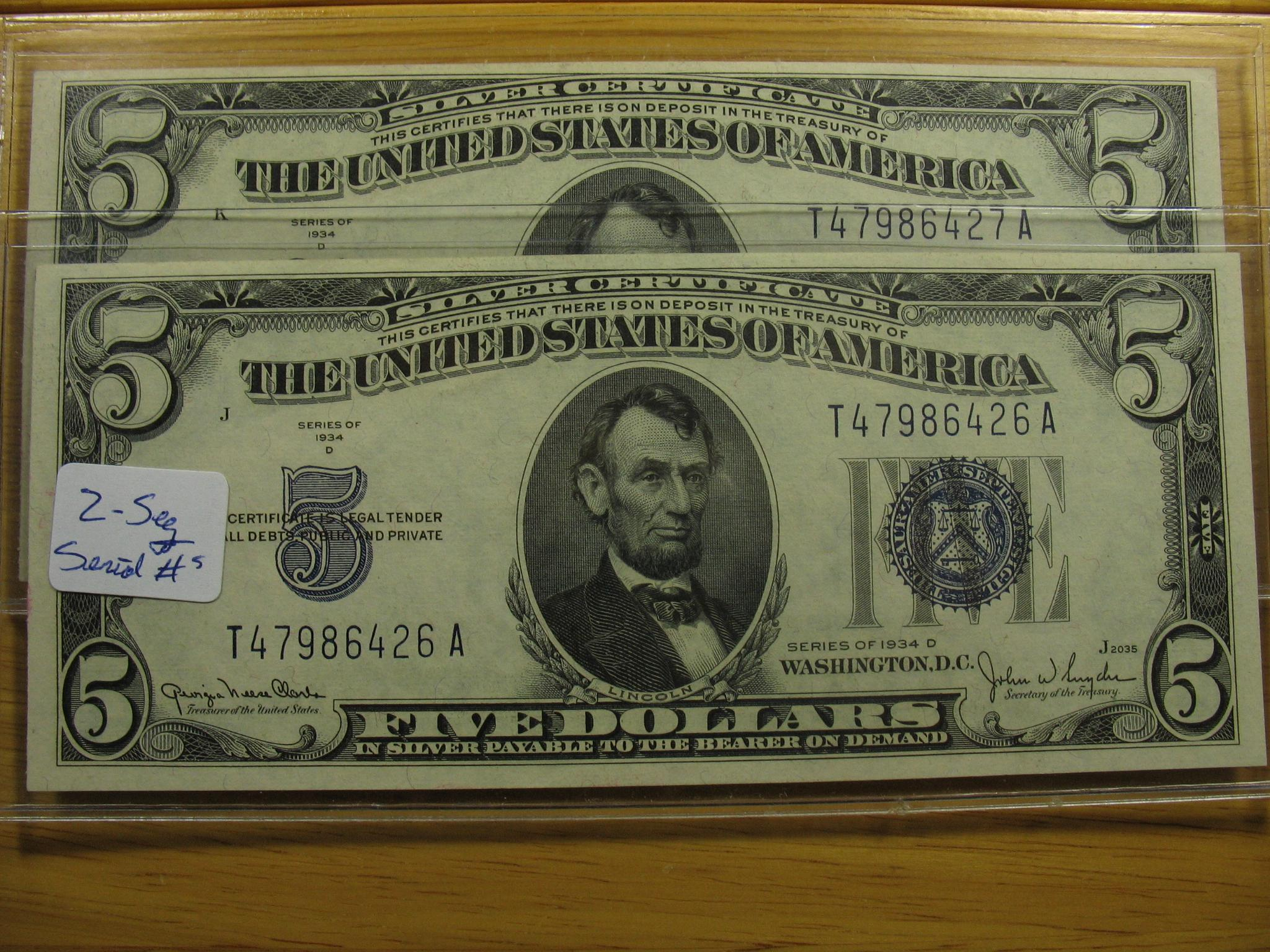 2 1934 D 500 Silver Certificates Notes Consecutive Serial S