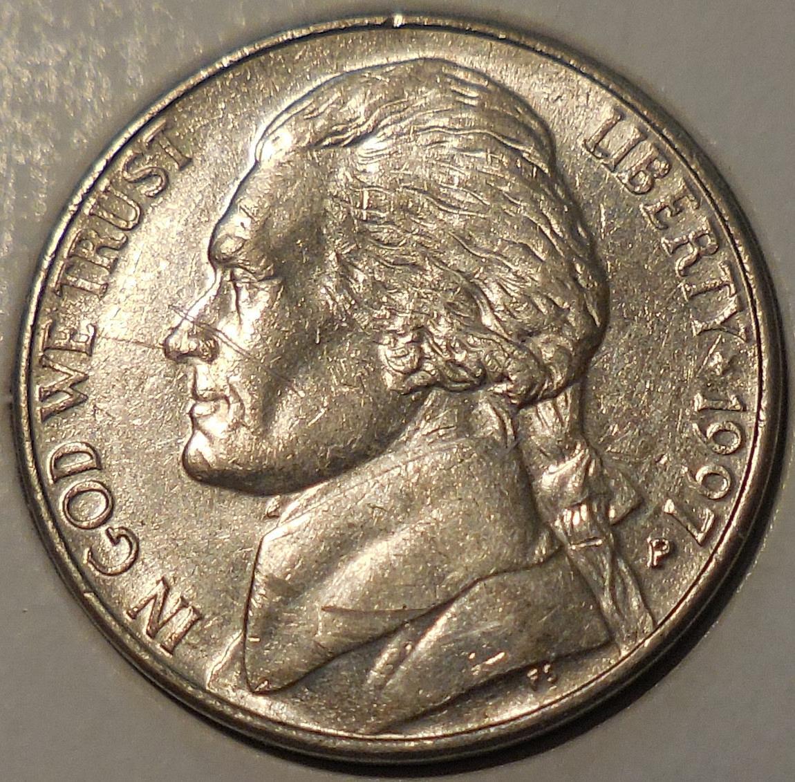 1997-P Jefferson Nickel Spike Head Die Crack Error - for sale, buy