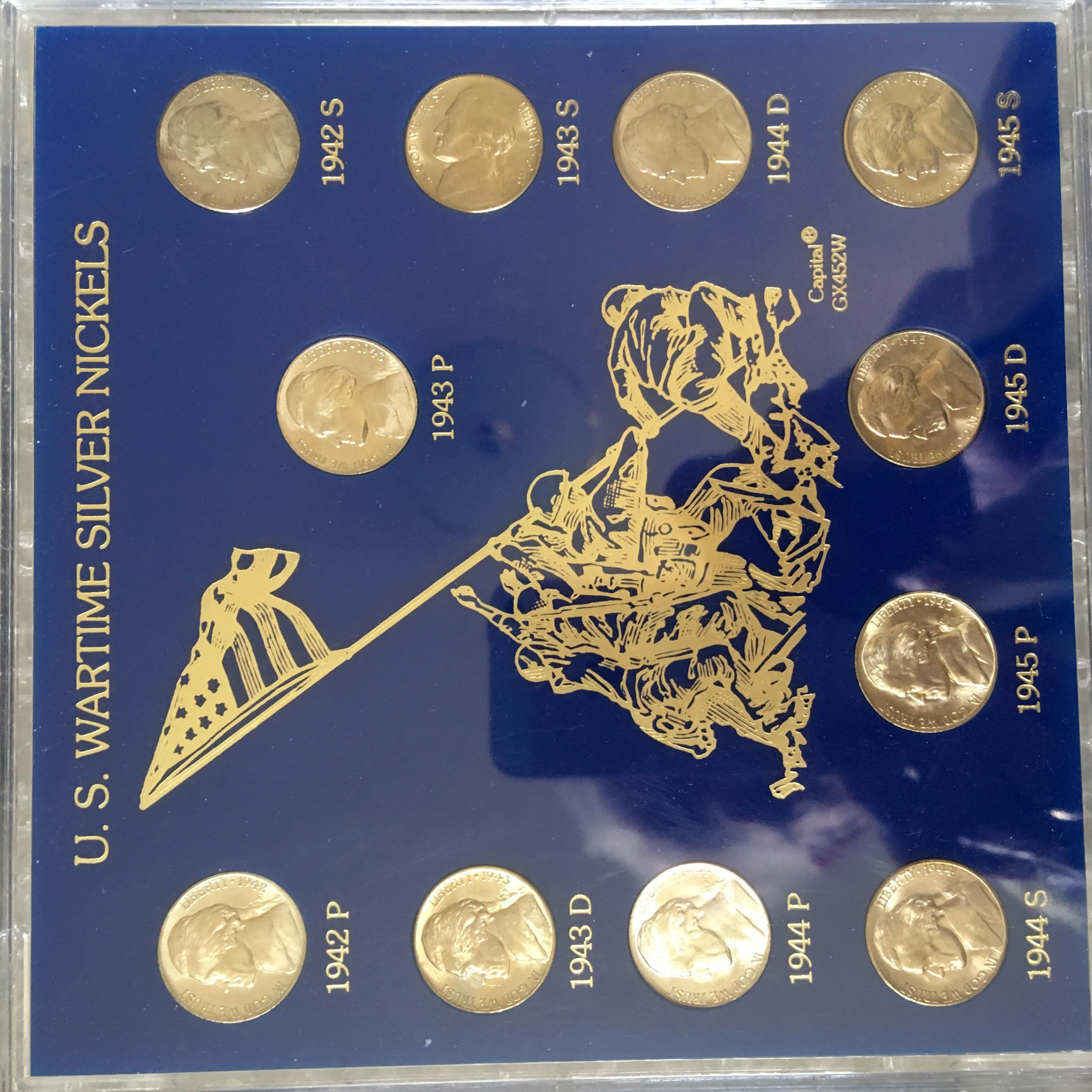 SILVER NICKELS IN DECORATIVE WWII SLAB, GOLD TONE COINS, PAID 297 00 COIN  SHOP