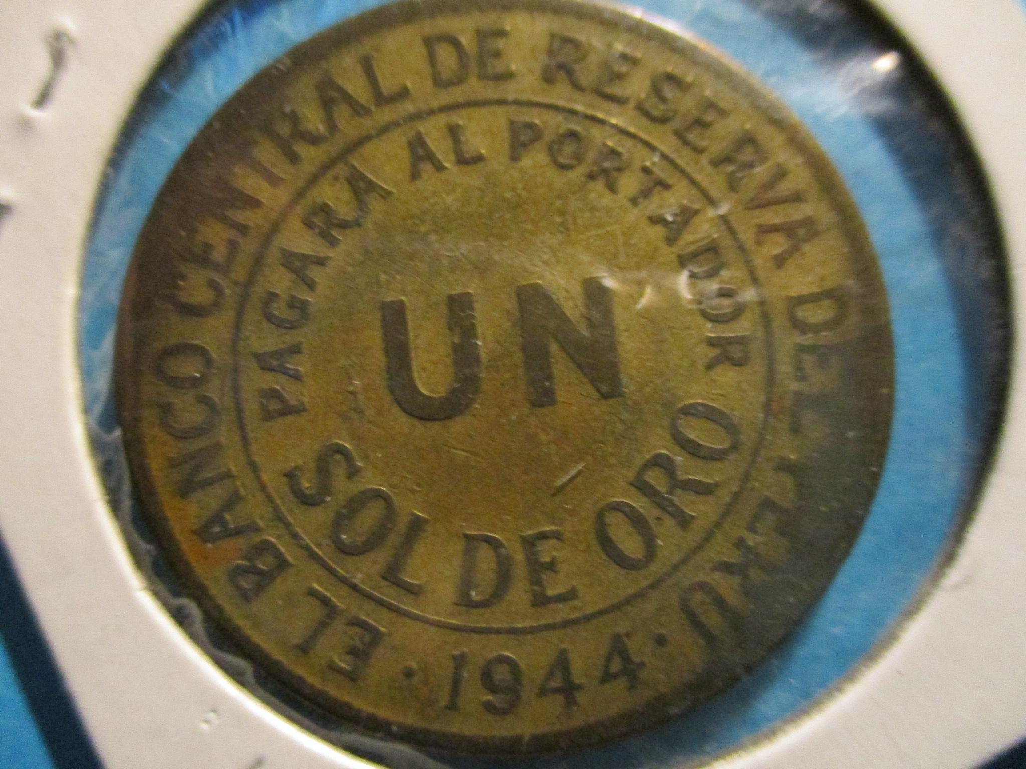 1944 Peru Token El Banco Central De Reserva Del Peru Un Sol De Oro For Sale Buy Now Online