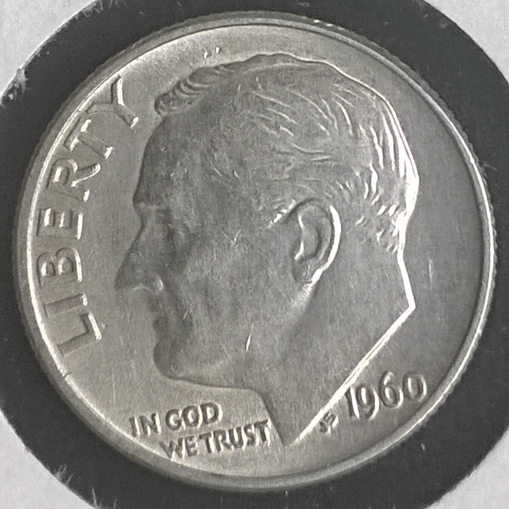 90/% silver from OBW Bank BU Roll 1960-P Roosevelt Dime