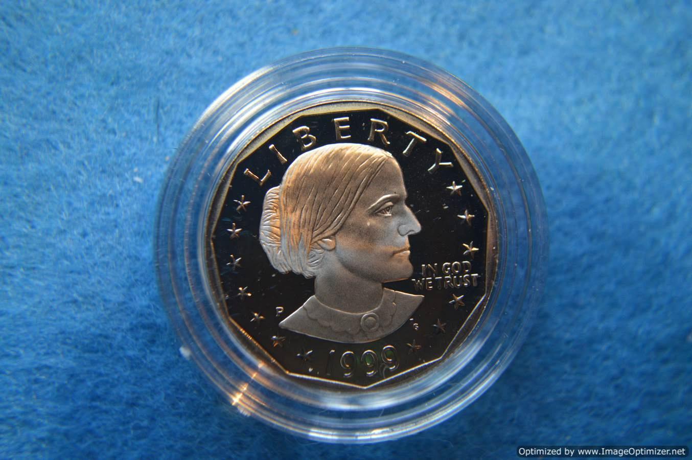 1999 P SBA Susan B Anthony Proof Dollar Coin w// Mint Box /& COA