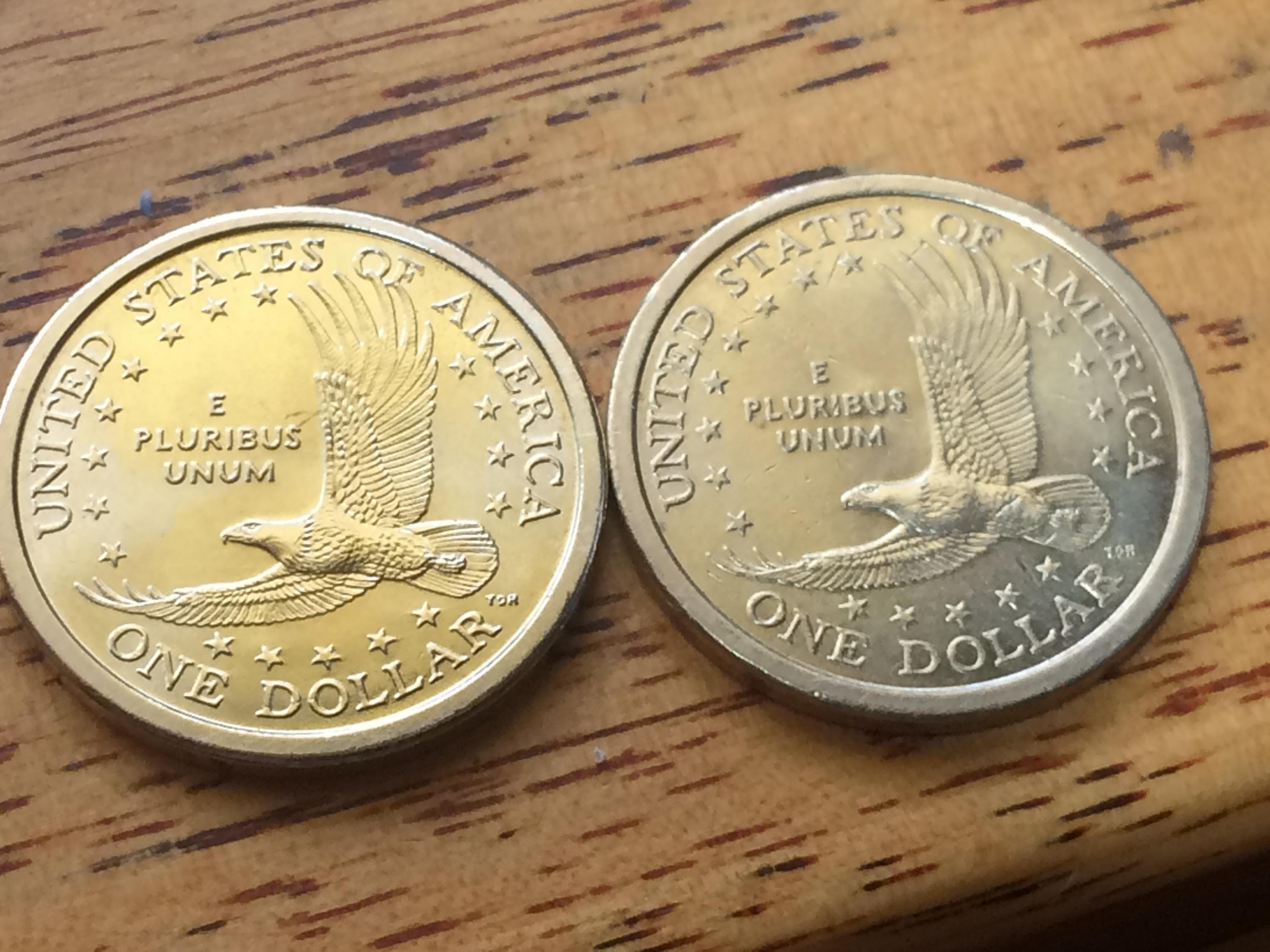 Sacagawea coin with edge lettering value