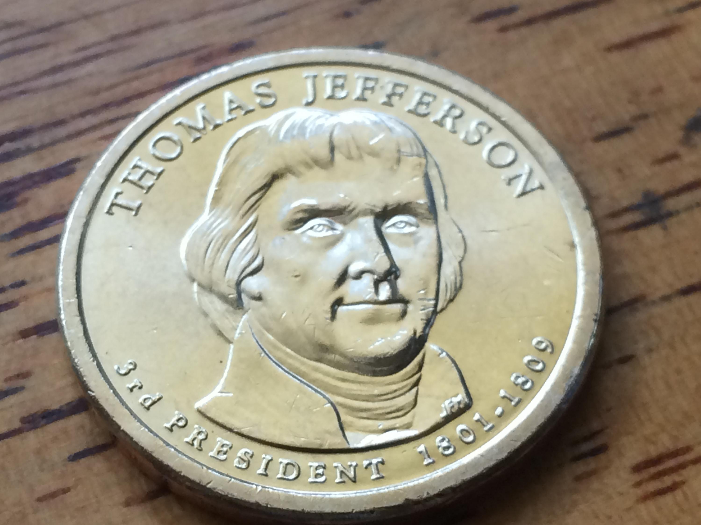 2007 P Thomas Jefferson Presidential dollar coin