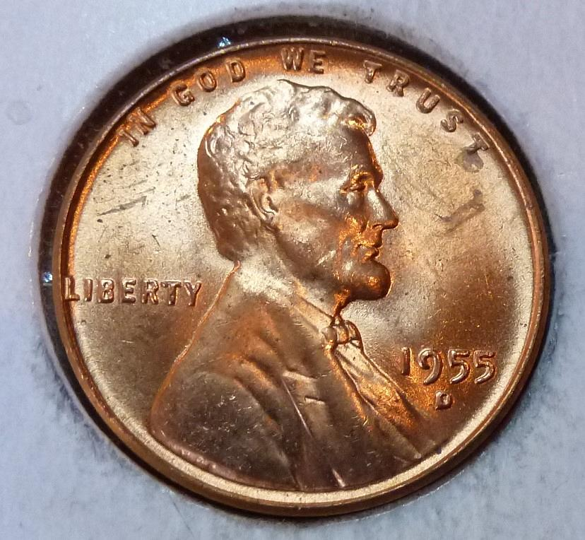 1955-D DENVER MINT UNCIRCULATED RED LINCOLN WHEAT CENT