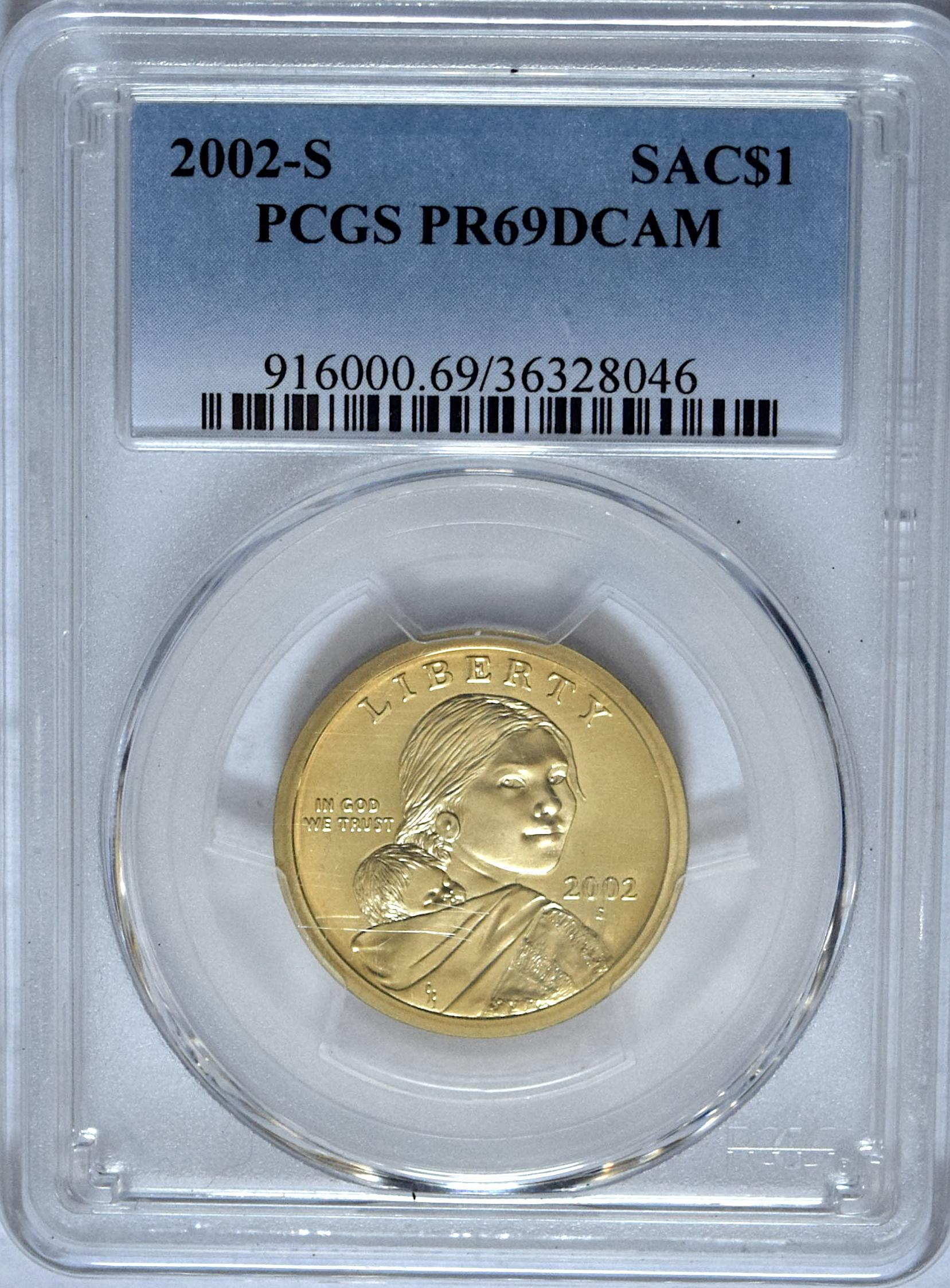 FREE SHIPPING 2002-S PROOF Native American Dollar Coin PCGS PR69DCAM